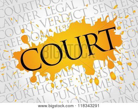 Court word cloud collage concept, presentation background