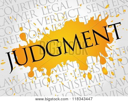 Judgment word cloud collage concept, presentation background