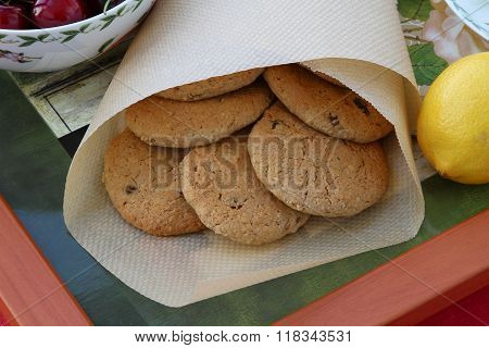 Homemade Oatmeal Cookies With Raisins On A Tray