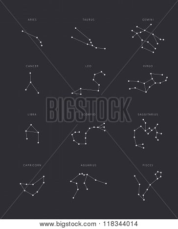 Zodiac constellations flat vector set