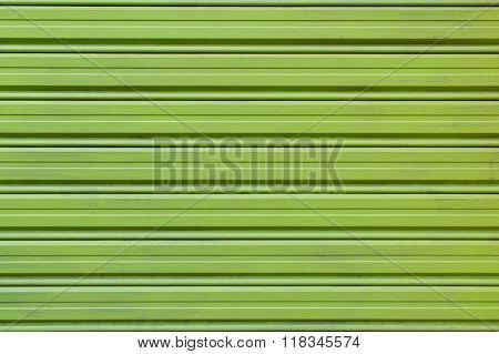 Close Up Green Alloy Shutter Door Background Texture