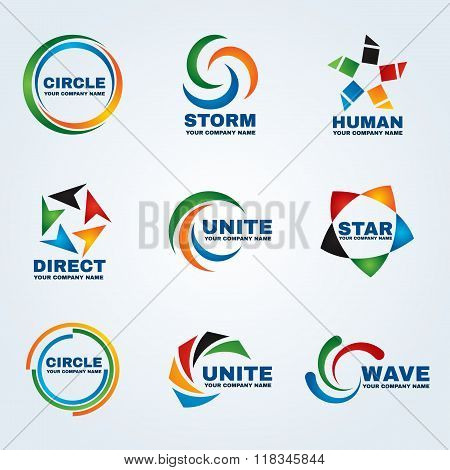 Circle Logo Storm Logo Human Logo Direct Logo Unite Logo Star Logo And Wave Logo Vector Art Design F