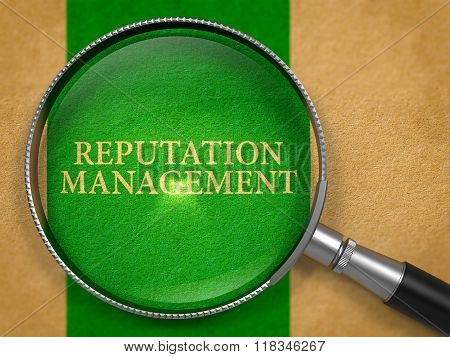 Reputation Management Concept through Magnifier.