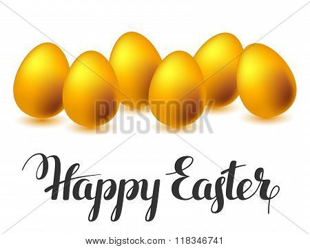 Happy Easter greeting card with eggs. Concept can be used for holiday invitations and posters