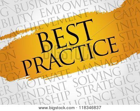 Best Practice word cloud business concept, presentation background