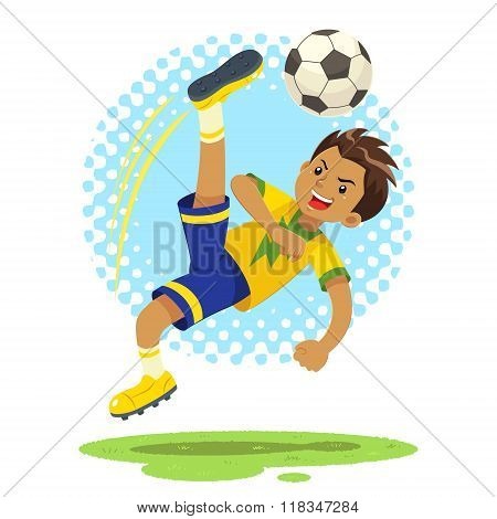 Soccer Boy Hit The Ball Using Bicycle Kick Technique