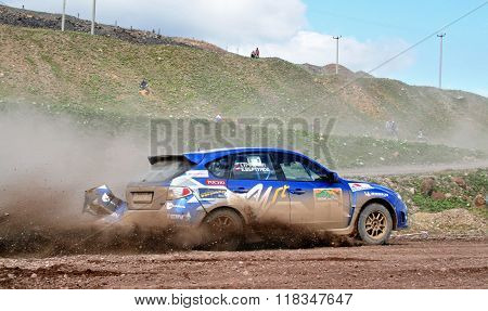 BAKAL, RUSSIA - AUGUST 8: Evgeny Vertunov's Subaru Impreza WRX (No. 1) competes at the annual Rally Southern Ural on August 8, 2008 in Bakal, Satka district, Chelyabinsk region, Russia.