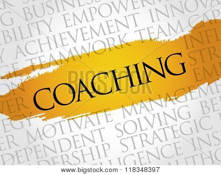 Coaching word cloud business concept, presentation background