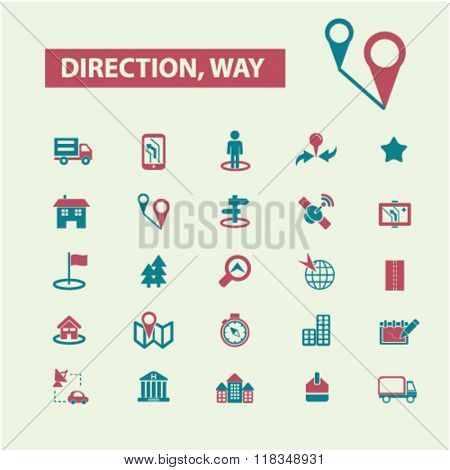 direction icons, way icons, map icons, location icon, route icons