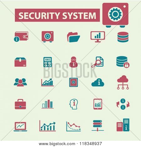 security, system administrator, computer network, connection, database, technology icons