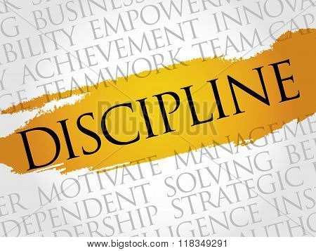 DISCIPLINE word cloud business concept, presentation background