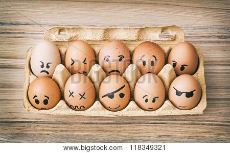 Emotion Face Painted Eggs In Paper Box