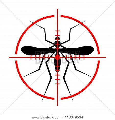 Silhouette of Mosquito and Crosshair. Insect, Culex pipiens isolated on white background. Vector Ill