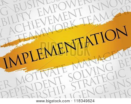 Implementation word cloud business concept, presentation background
