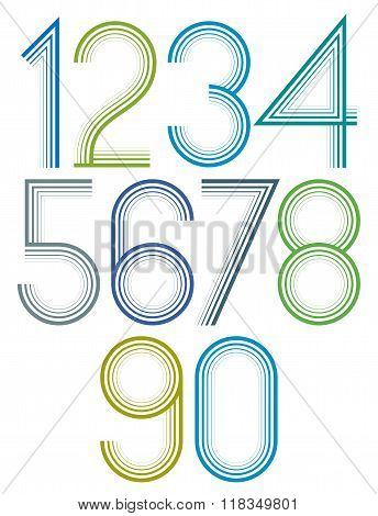 Poster Rounded Large Colorful Numbers With Stripes On White Background.