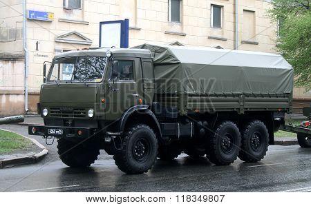 CHELYABINSK, RUSSIA - MAY 9: Army truck KamAZ-5350