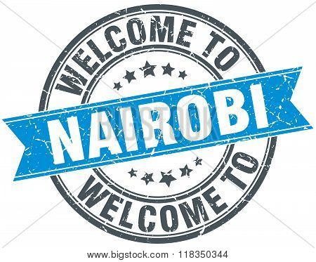 welcome to Nairobi blue round vintage stamp
