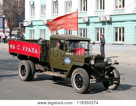 CHELYABINSK, RUSSIA - MAY 9: Soviet truck GAZ-MM is exhibited at the annual Victory Parade on May 9, 2009 in Chelyabinsk, Russia.