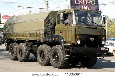 CHELYABINSK, RUSSIA - MAY 9: Army truck Ural-5323 exhibited at the annual Victory Parade on May 9, 2009 in Chelyabinsk, Russia.
