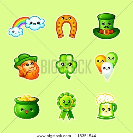 Cute St. Patrick's Day icons in Japanese style
