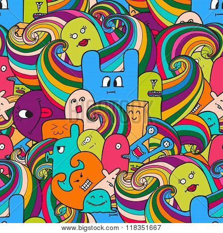 Seamle Pattern Funny Monsters Graffiti. Hand Drawn Sketch Art. Doodle Vector Illustration. Can Be Us