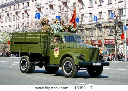 CHELYABINSK, RUSSIA - MAY 9: Soviet army truck GAZ-51 exhibited at the annual Victory Parade on May 9, 2011 in Chelyabinsk, Russia.