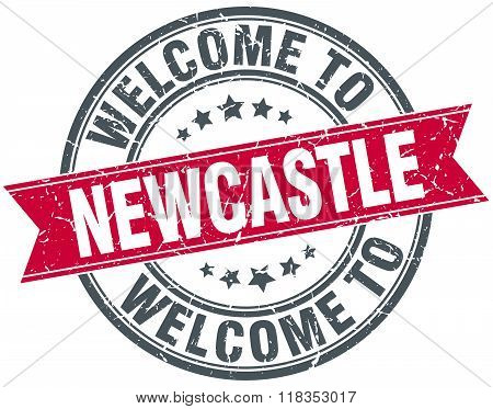 welcome to Newcastle red round vintage stamp