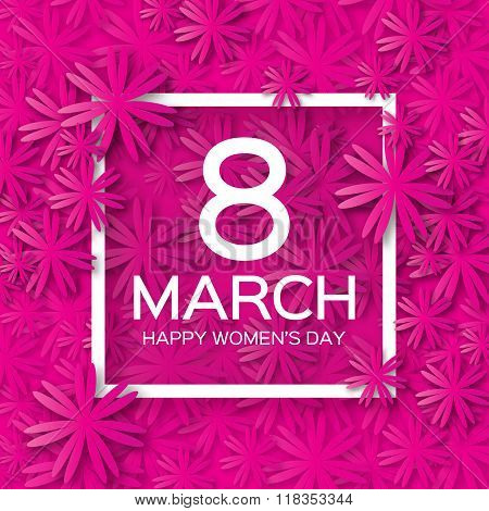 Abstract Pink Floral Greeting card - International Happy Women's Day - 8 March holiday