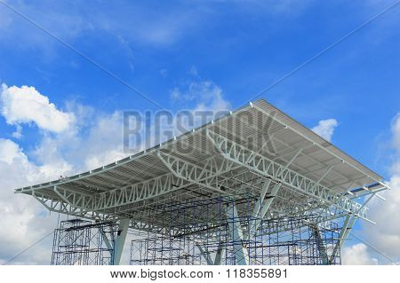 closeup structure of toll collection under construction