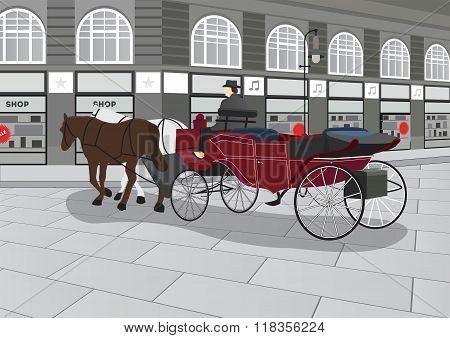Horse Drawn Carriage on the Street Illustration