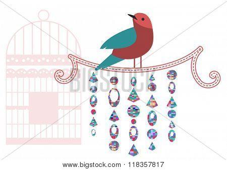 Bird on a vine -Spring decoration - with birdcage