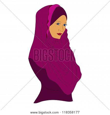 muslim girl dressed in colored hijab,