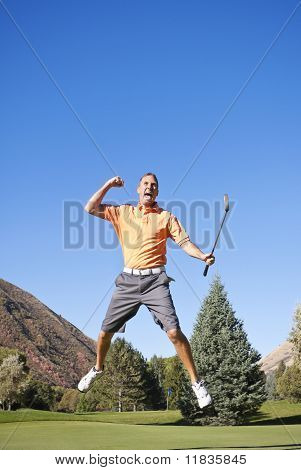 Excited Golfer