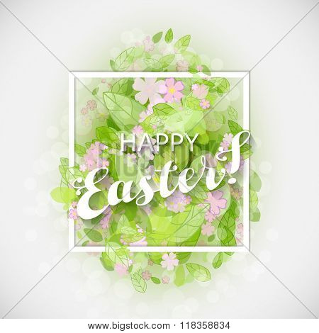 Beautiful card Easter egg with green leaves and flowers. Vector illustration