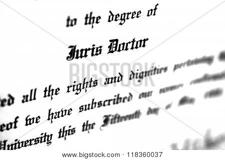 Close up of Juris Doctorate law degree certificate