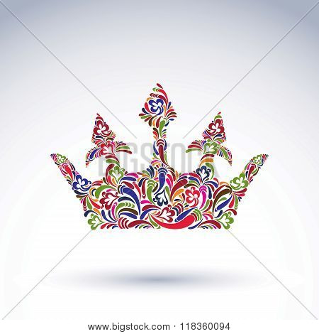 Colorful flower-patterned crown coronation design element. Classic royal accessory decorated with abstract flower vector pattern.