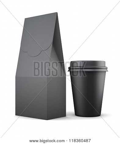 Black Paper Bag And Cup For Lunch On White Background. 3D Render