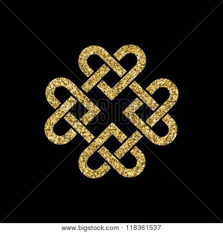 Celtic knot made from interlocking hearts. Gold glitter on black background.