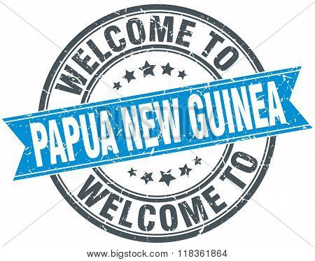 welcome to Papua New Guinea blue round vintage stamp