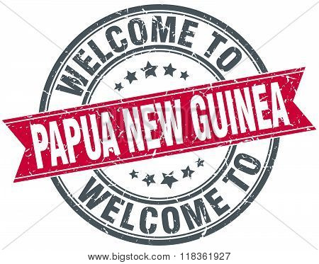welcome to Papua New Guinea red round vintage stamp