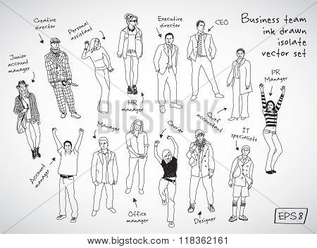 Business team posts and characters hand drawn isolate figures.