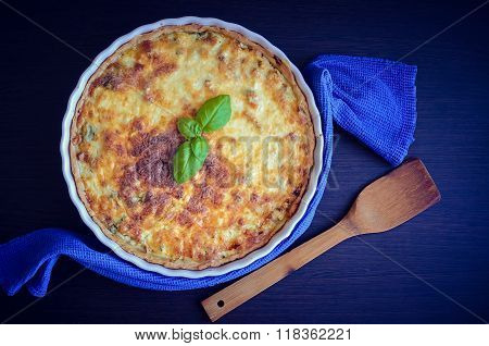 Home Made Tasty French Quiche Lorraine Pie