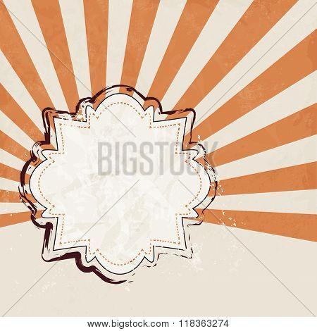 Retro label beige with orange starburst background - vintage brochure design