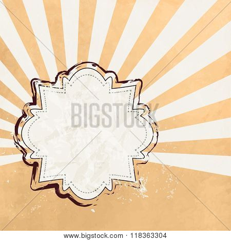 Yellow sunburst background vintage with label sticker - retro notice design