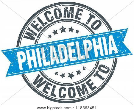 welcome to Philadelphia blue round vintage stamp