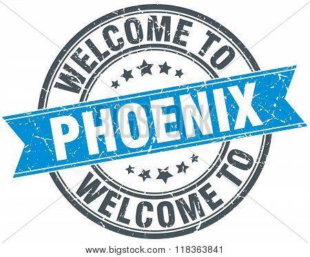 welcome to Phoenix blue round vintage stamp