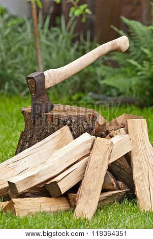 Old Used Ax With A Log