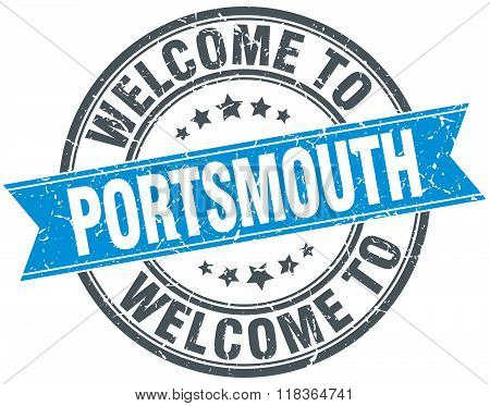 welcome to Portsmouth blue round vintage stamp