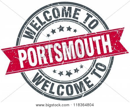 welcome to Portsmouth red round vintage stamp