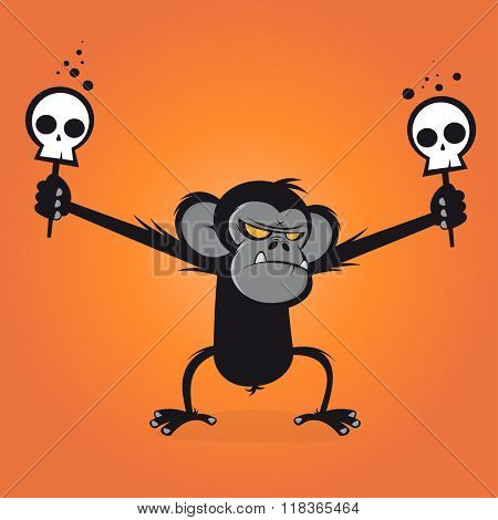 angry chimp is holding skulls on a stick